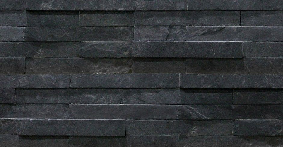 Slate Stone Elevation : Black slate split face mosaic tiles