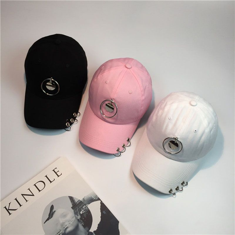 6f2356e1f5b  Visit to Buy  Mens Snapback Hats Solid Color Iron Ring Decor Cotton Hats  Women Kpop Simple Baseball Caps 2017 New Fashion Unisex Accessories