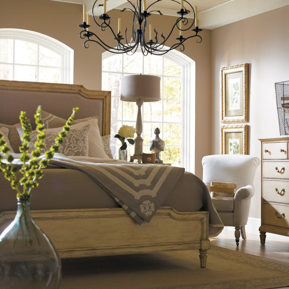 European Cottage Upholstered Panel Bed We