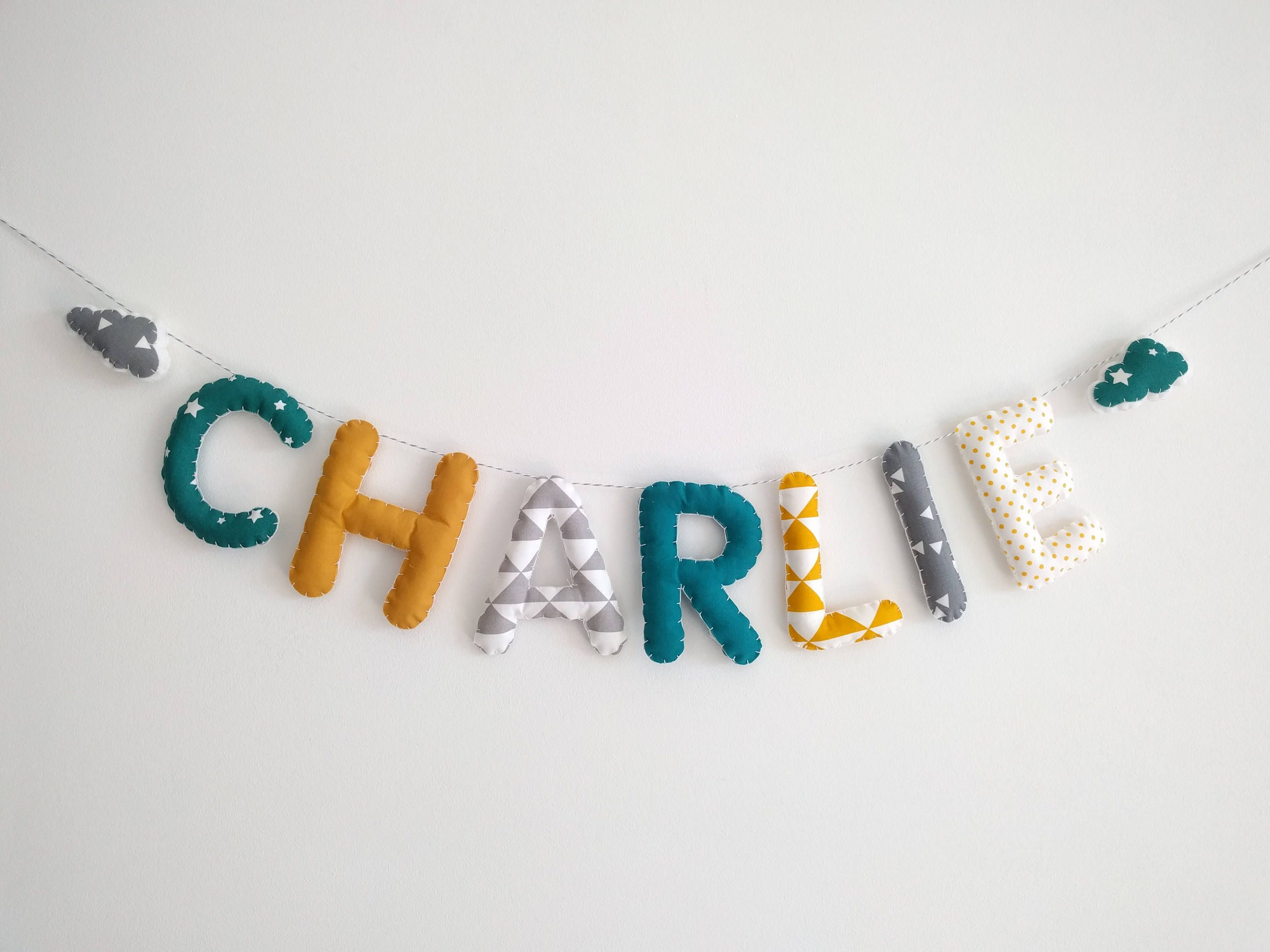 Fabric Name garland/Letters Banner/Baby room decoration/Wall Art ...