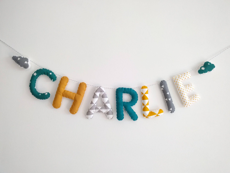Guirlande Prénom/Lettres Banderole Décoration Chambre Bébé ...