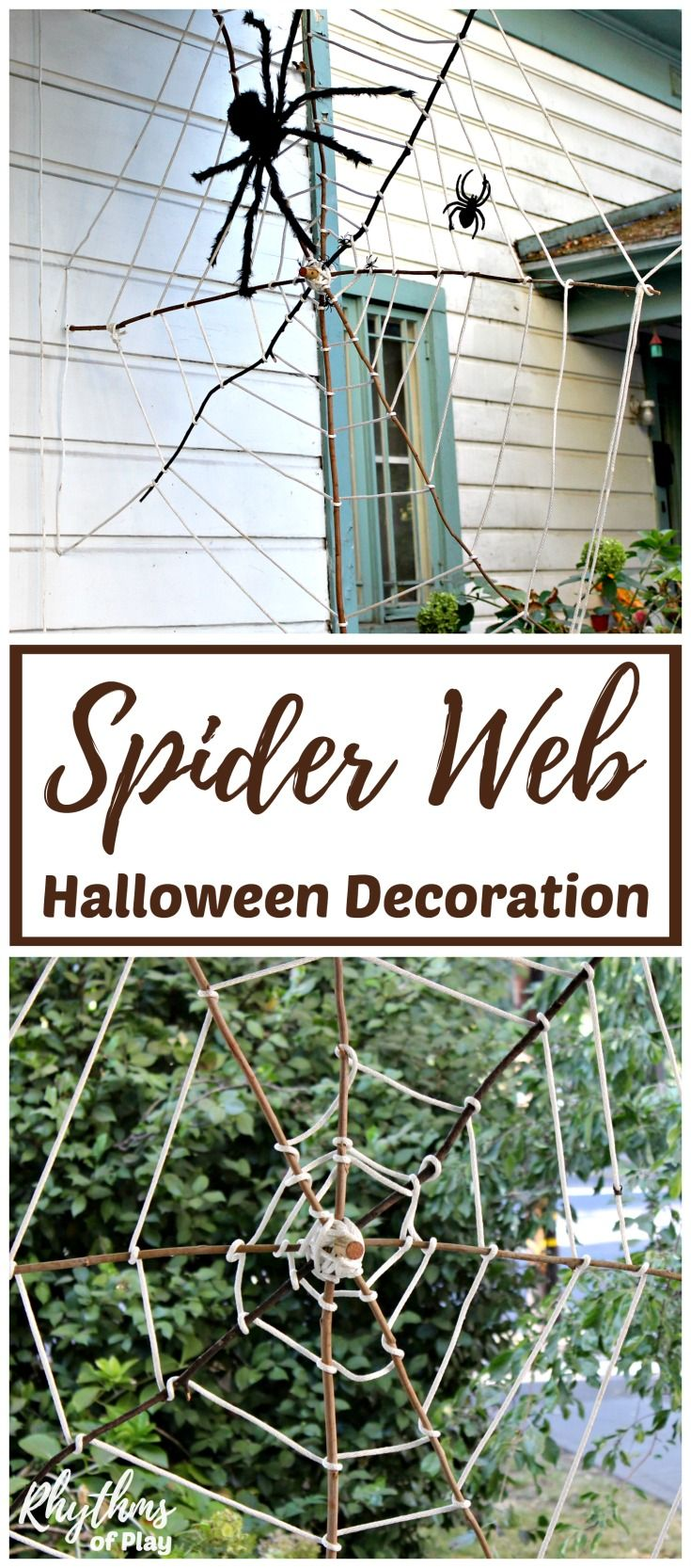 giant stick spider web halloween decoration rhythms of play