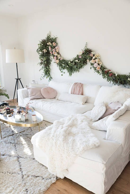 happy festive living room with pink accents ] holiday movie night ...