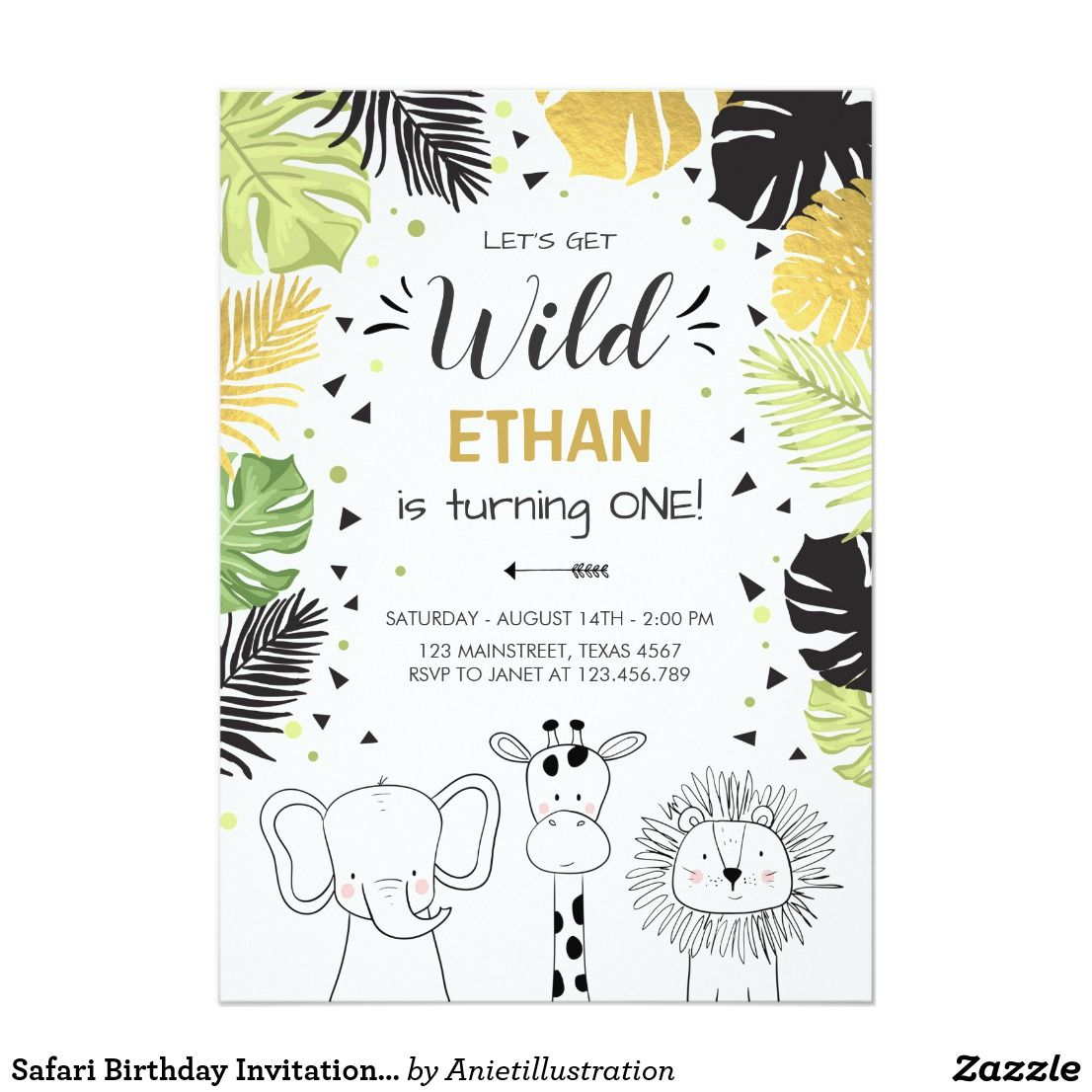 Safari Birthday Invitation Zoo Wild Jungle animals | { Happy ...