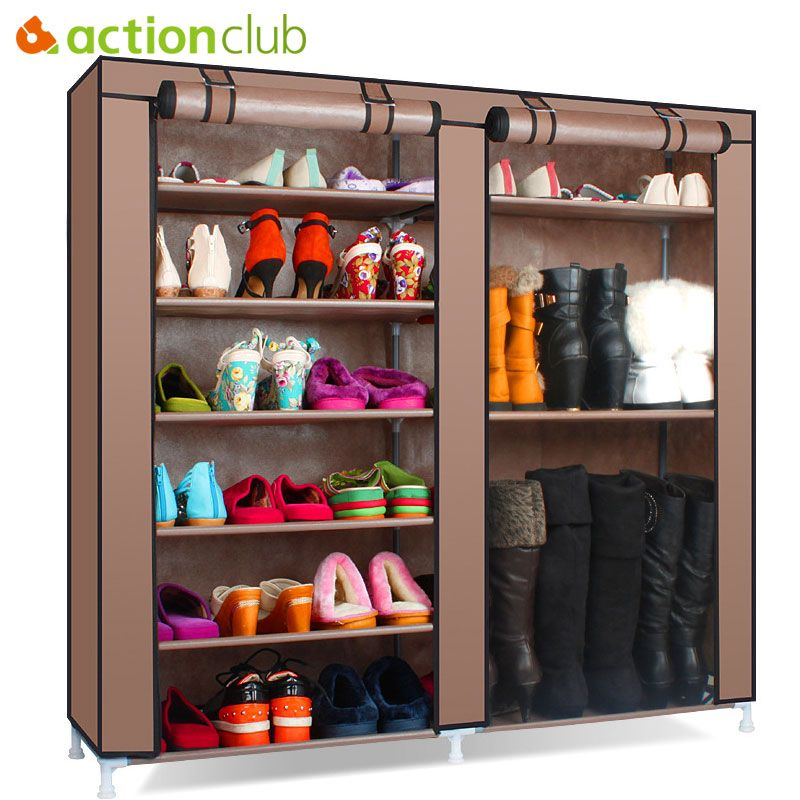 Only Us 25 19 Actionclub Shoe Cabinet Shoes Rack Storage Large Capacity Home Furniture Dust Proof Double Row Shoe Shelves Diy Space Saver
