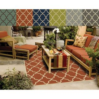 indoor outdoor lattice polypropylene rug 37 x 56 lime green or terra cotta would be perfect spring board for the color palette - Outdoor Patio Rugs