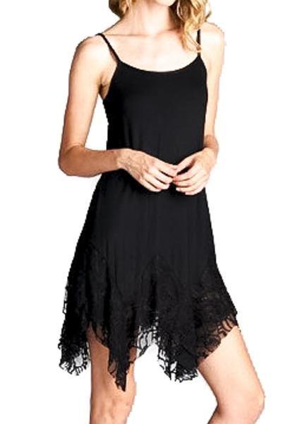 Fun & Flirty Black Lace Witchy Asymmetrical Spaghetti Strap Dress Summer