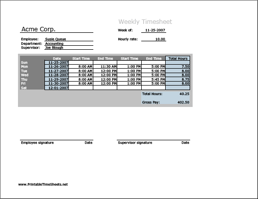 Weekly Timesheet Horizontal Orientation Printable Time Sheets