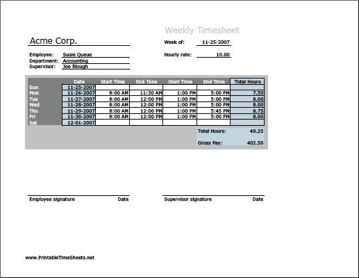 Weekly Timesheet Horizontal Orientation Printable Time Sheets