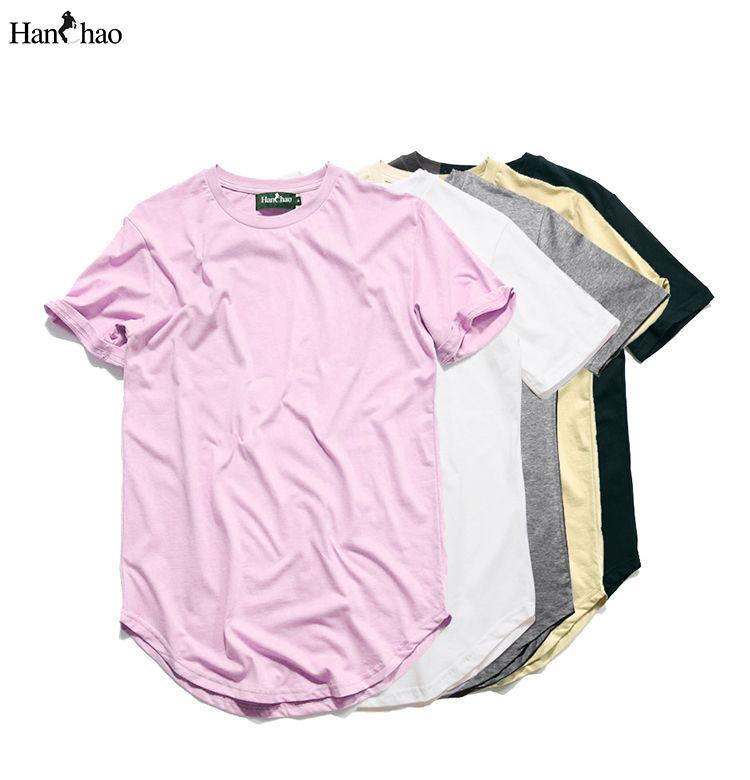 c50f5426 Kanye West Extended T-Shirt Men 2016Summer Curved Hem Longline Hip ...