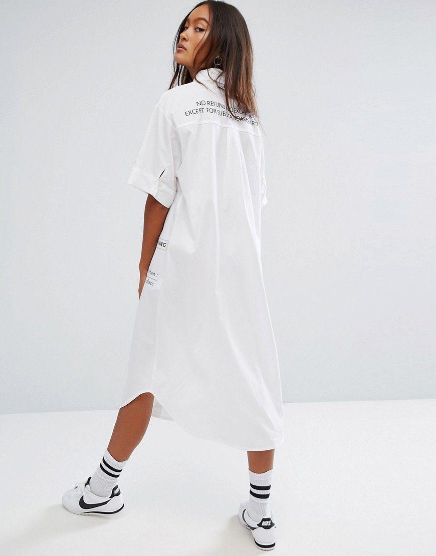 STYLENANDA - Hemdkleid mit Print hinten - Weiß   Bekleidung ...