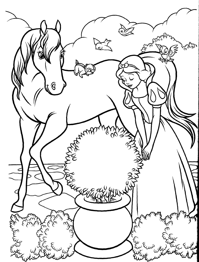 Snow White & Horse Disney Coloring Book Page | Χιονατη | Pinterest ...