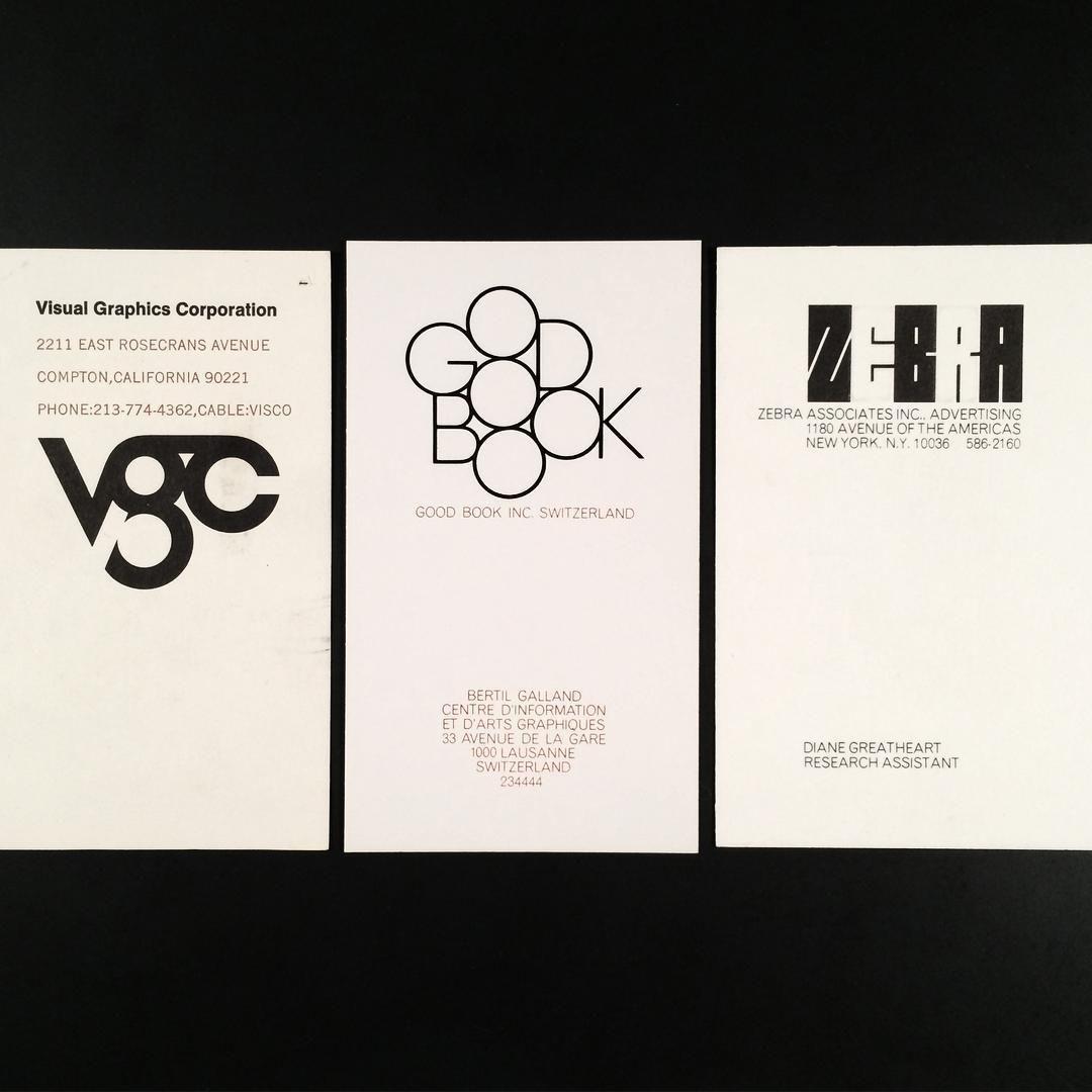 Three logos, three business cards. Herb Lubalin, art director ...