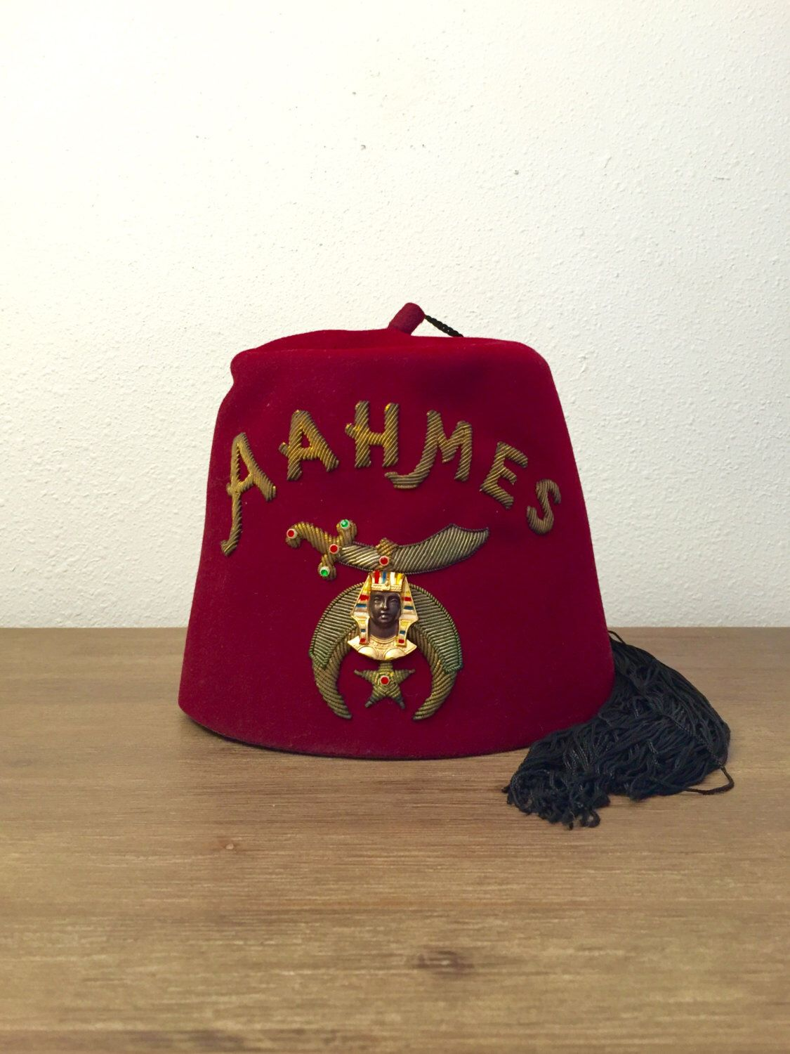 6c05b114d Aahmes Shriner Fez with Tassel; Shriners Fez; Grand Poobah Hat ...