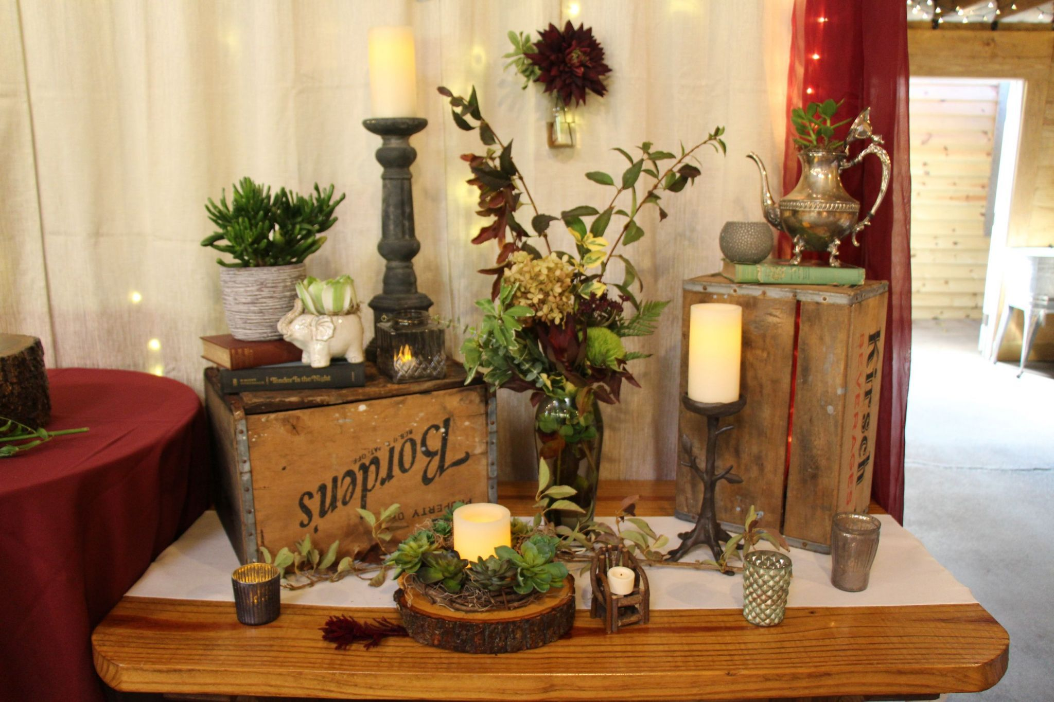Example Of Side Dessert Table Decoration When There Is Only A Large Cake For Display This Wedding Used Our Cream Dessert Table Decor Farm Wedding Venue Luray