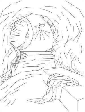 the empty tomb in jesus resurrection coloring page