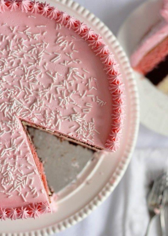 Neapolitan - 5 layer birthday cake with strawberry frosting. #pink #birthdaycakes #birthday #icing #neapolitan