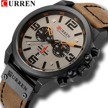 Mens Watches Top Brand Luxury CURREN Sports Watch Men Military Leather Quartz-watch Waterproof Male Clock Relogio Masculino #sportswatches