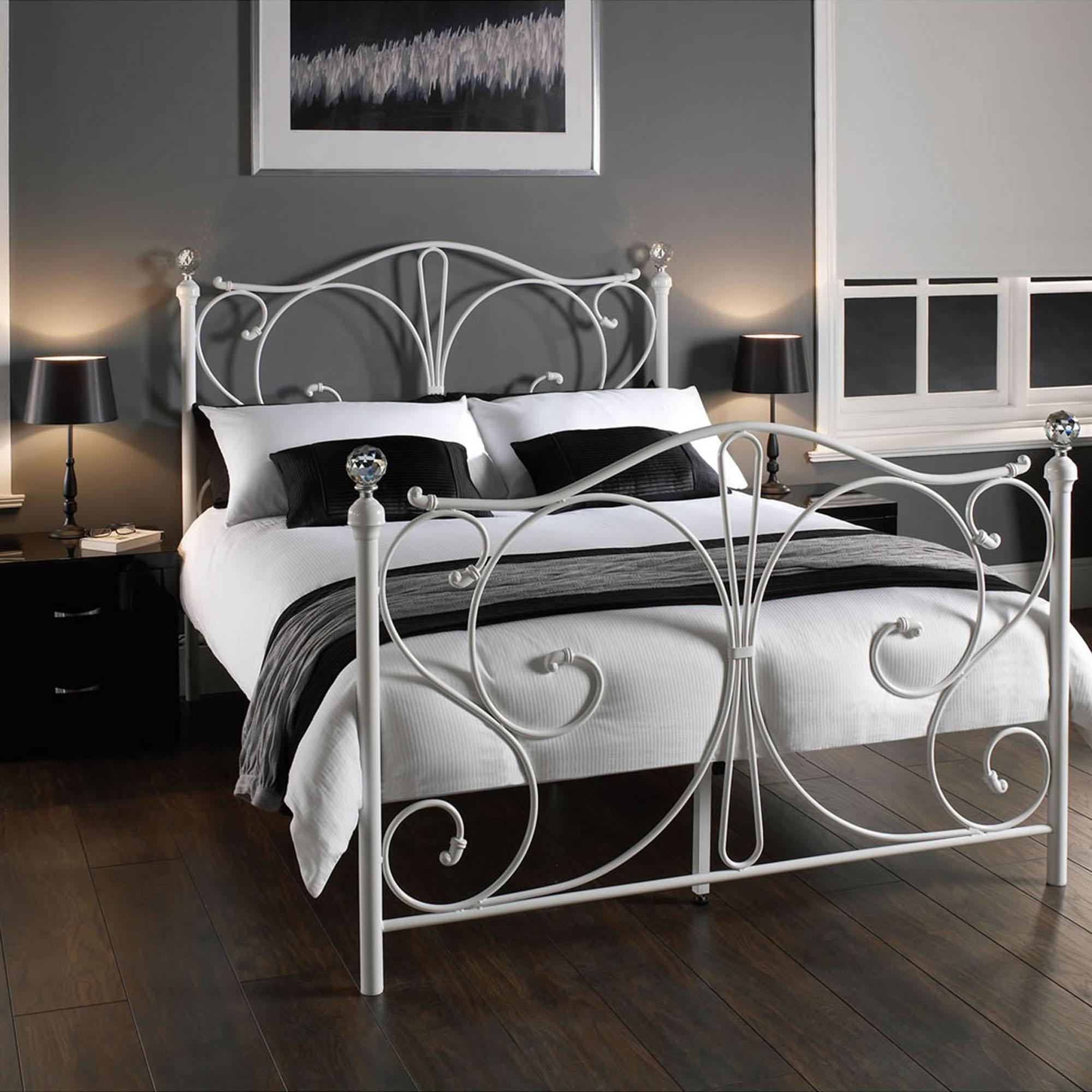 Florence Metal Bedstead In 2020 White Metal Bed Frame White Metal Bed White Bed Frame