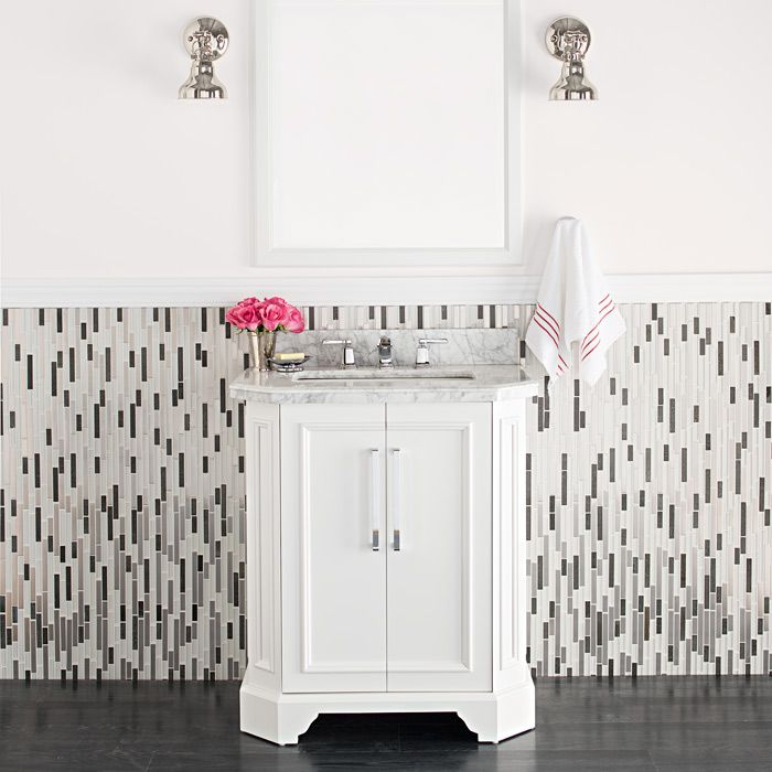 White Vanity With Some Interest Behind With Glass Tile