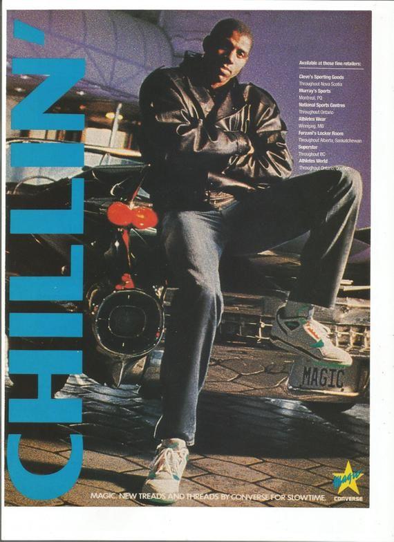 a045f75947f71 1990 Advertisement Magic Johnson Converse Treads and Threads ...