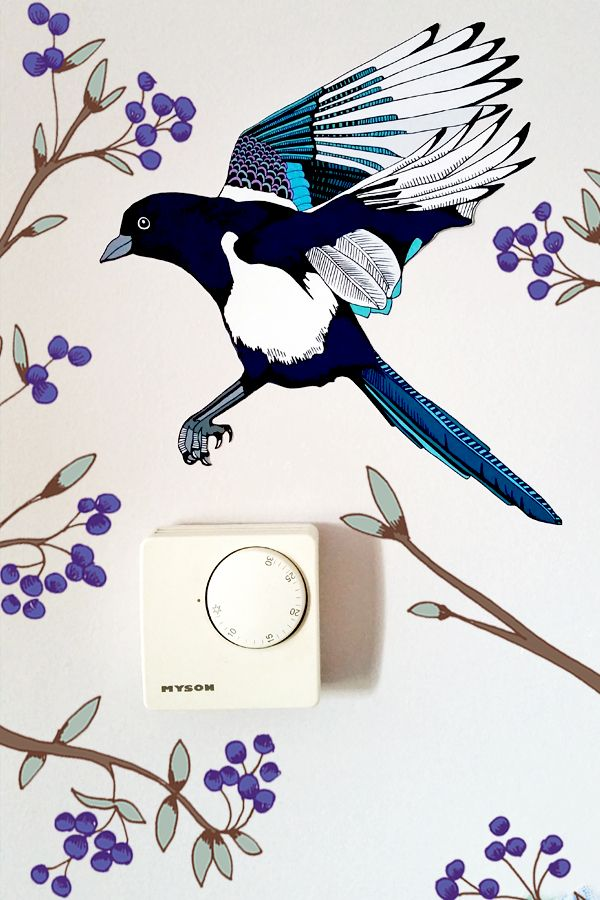 magpie wall sticker british birds home decor he looks great flying rh pinterest com