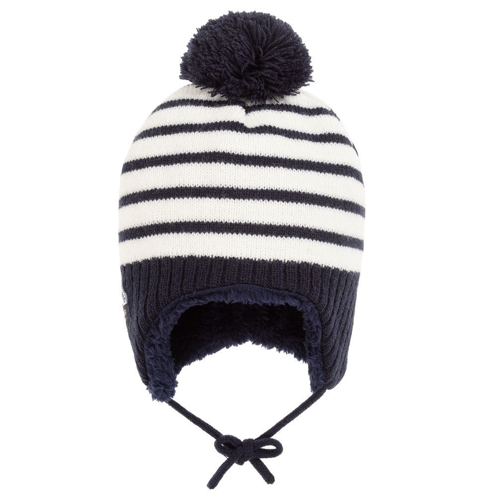 Boys Ivory Knitted Pom-Pom Hat for Boy by Week-end à la mer. Discover the  latest designer Hats for kids online at Childrensalon.co. 9b462529ee14