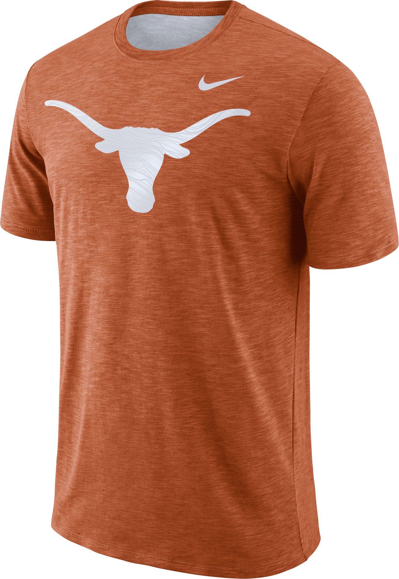 a062d7c8 Nike Men's Texas Longhorns Burnt Orange Dri-FIT Football Sideline Slub T- Shirt, Team