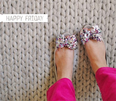 Oh Joy! Love the sparkly shoes and hot pink