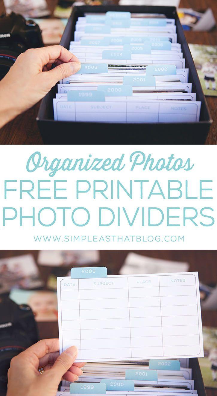 Organizing printed photos free printable photo dividers great way