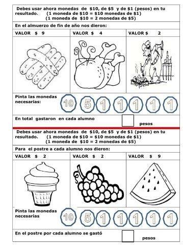 34 Ejercicios de monedas y billetes - Educaciín Preescolar ...