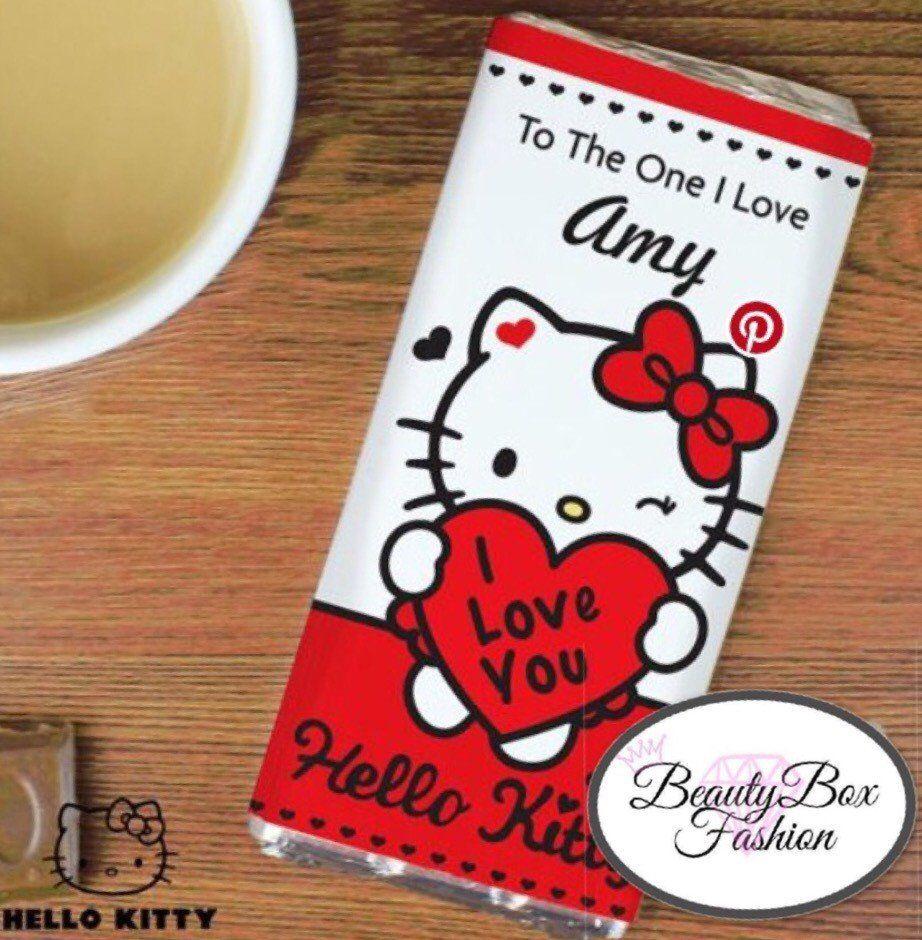 Personalised Hello Kitty I Love You Milk Chocolate Bar