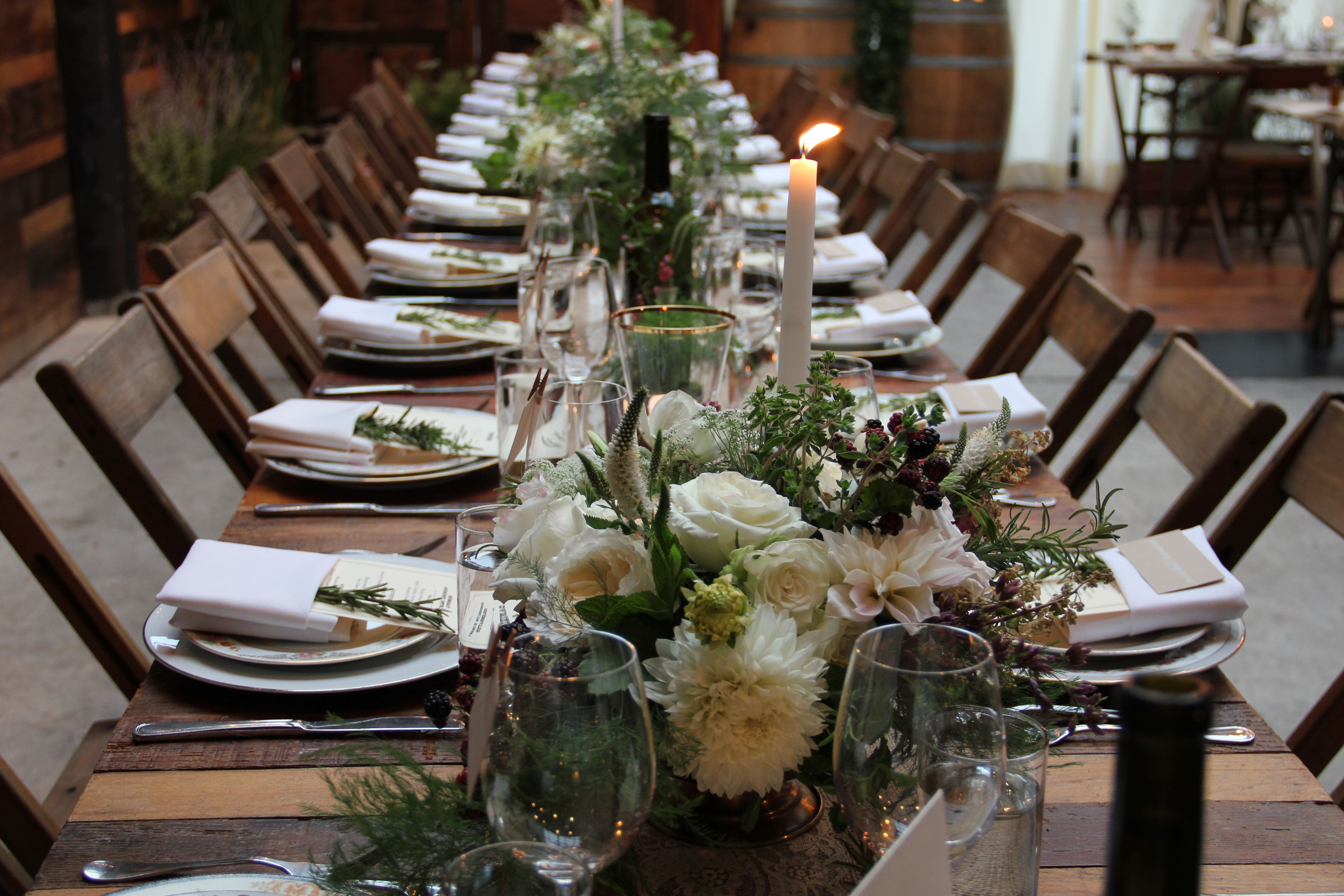A rustic table setting for a Brooklyn