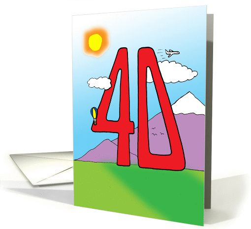 40th birthday  big number card  birthday cards for her