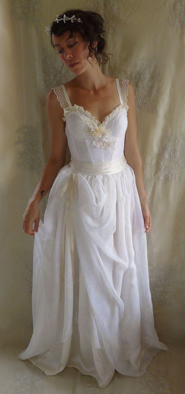 Woodland Bustier Wedding Gown Whimsical Dress Woodland Boho
