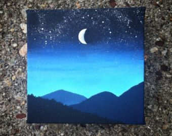 Night Sky Painting In Acrylic 4x5 Canvas Cute Canvas