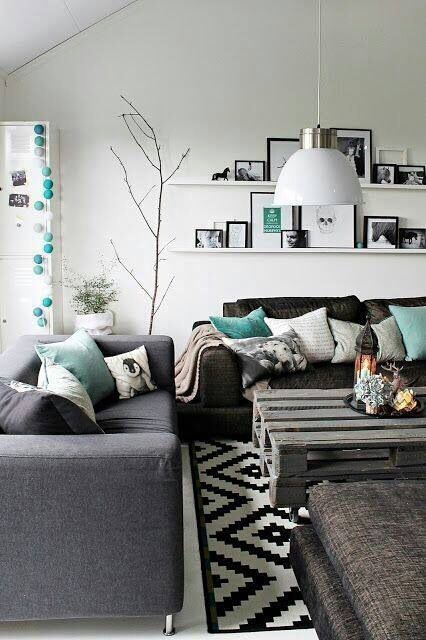Living Room Grey Couch White Walls Black Or Navy Patterned