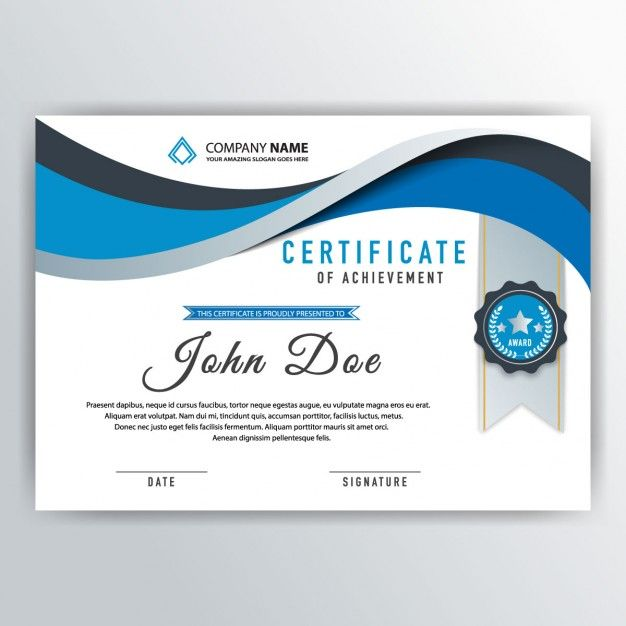 Blue abstract certificate Free Vector Líneas Pinterest - Corporate Certificate Template
