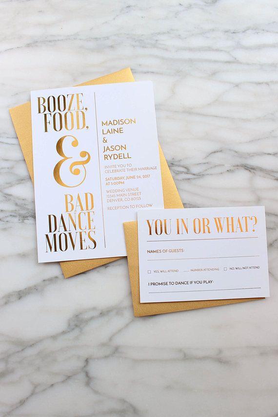 fun modern wedding invitations%0A Gold Foil Wedding Invitation Suite    Custom Wedding Invitations    Funny  Wedding Invitations