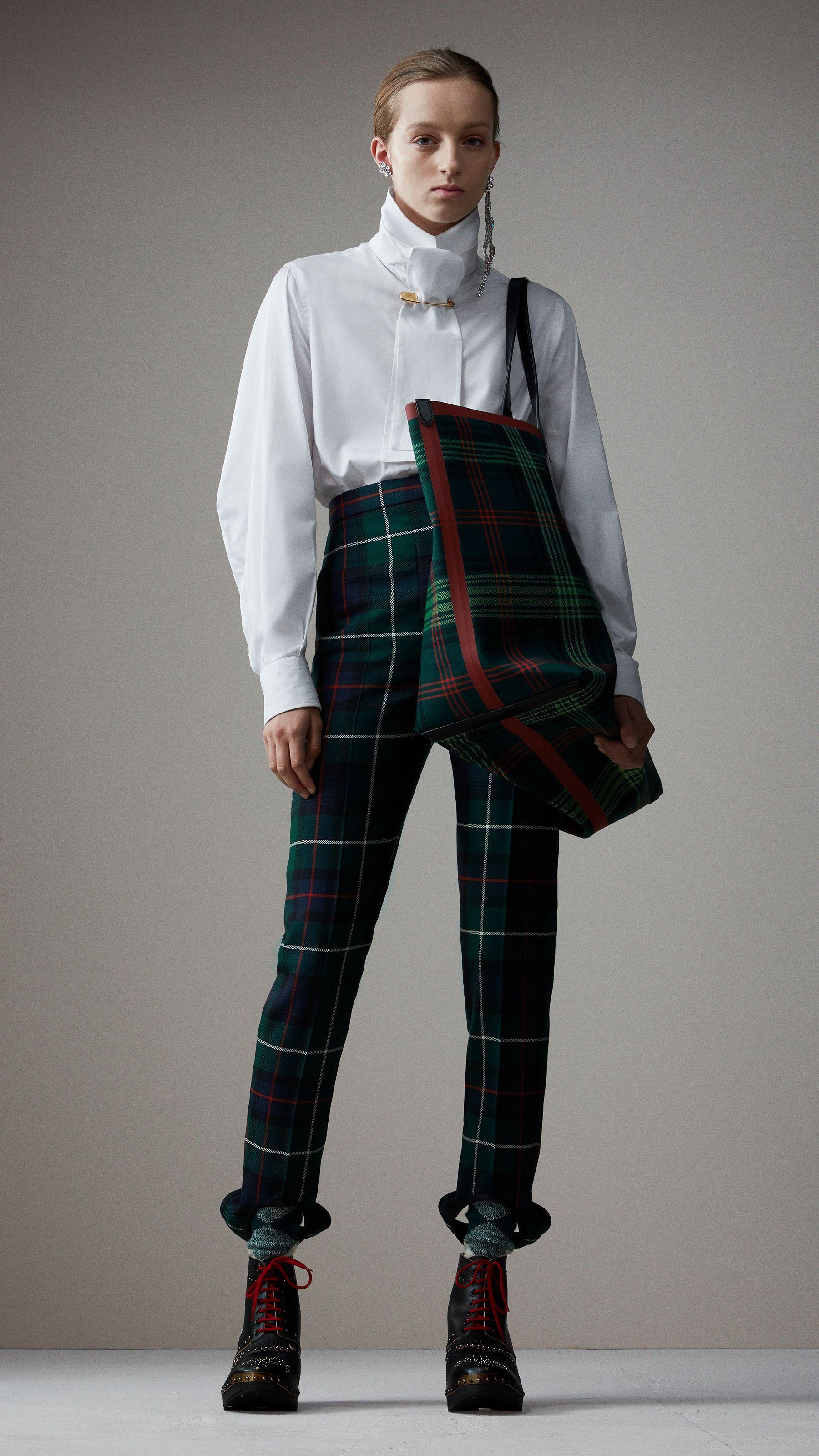 Pantalon étrier taille haute en laine tartan (Vert Forêt) - Femme   Burberry cc71a1de01d4