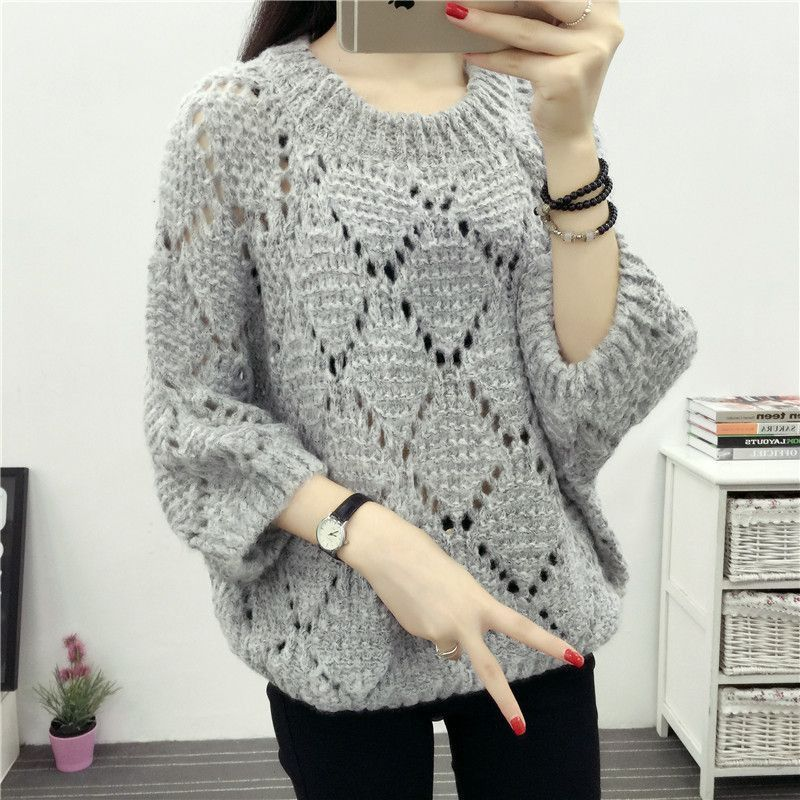 Winter Spring Women Knitted Hollow Out Sweater 2017 Loose Pullover ...