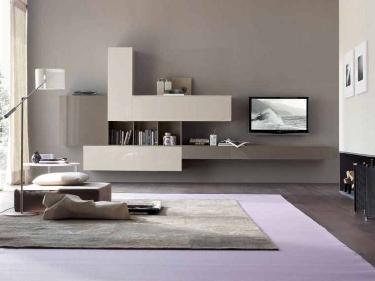 Salon moderne gris  harmonie esthétique Salons, Tv walls and Consoles - decoration salon moderne gris