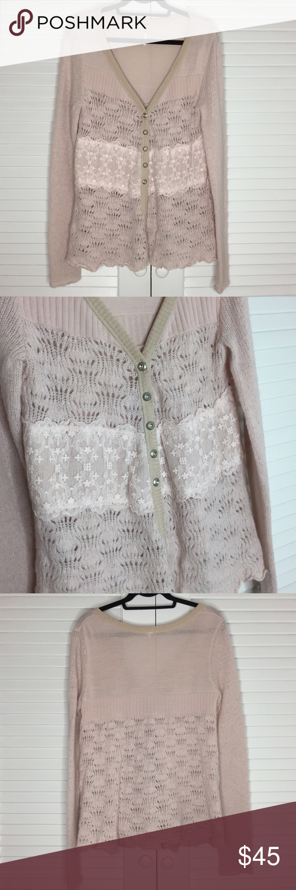 Free People Pink Lace Knit Cardigan Sweater | Silver buttons, Lace ...