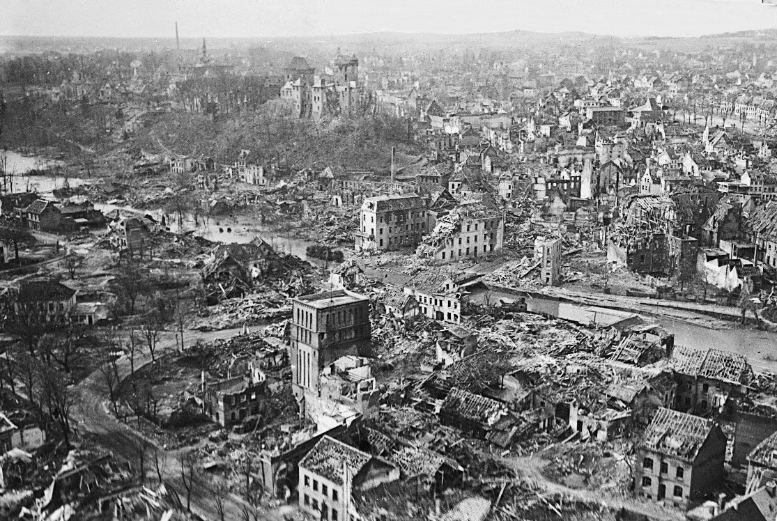 Allied bombing raids battered German cities in
