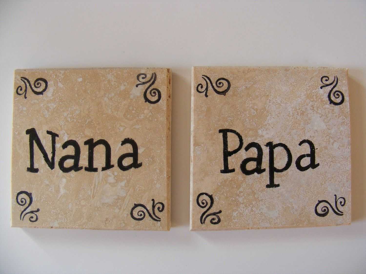 Nana And Papa Travertine Tile Coasters Perfect For Grandpas Birthday Anniversary Or I Love You Gift