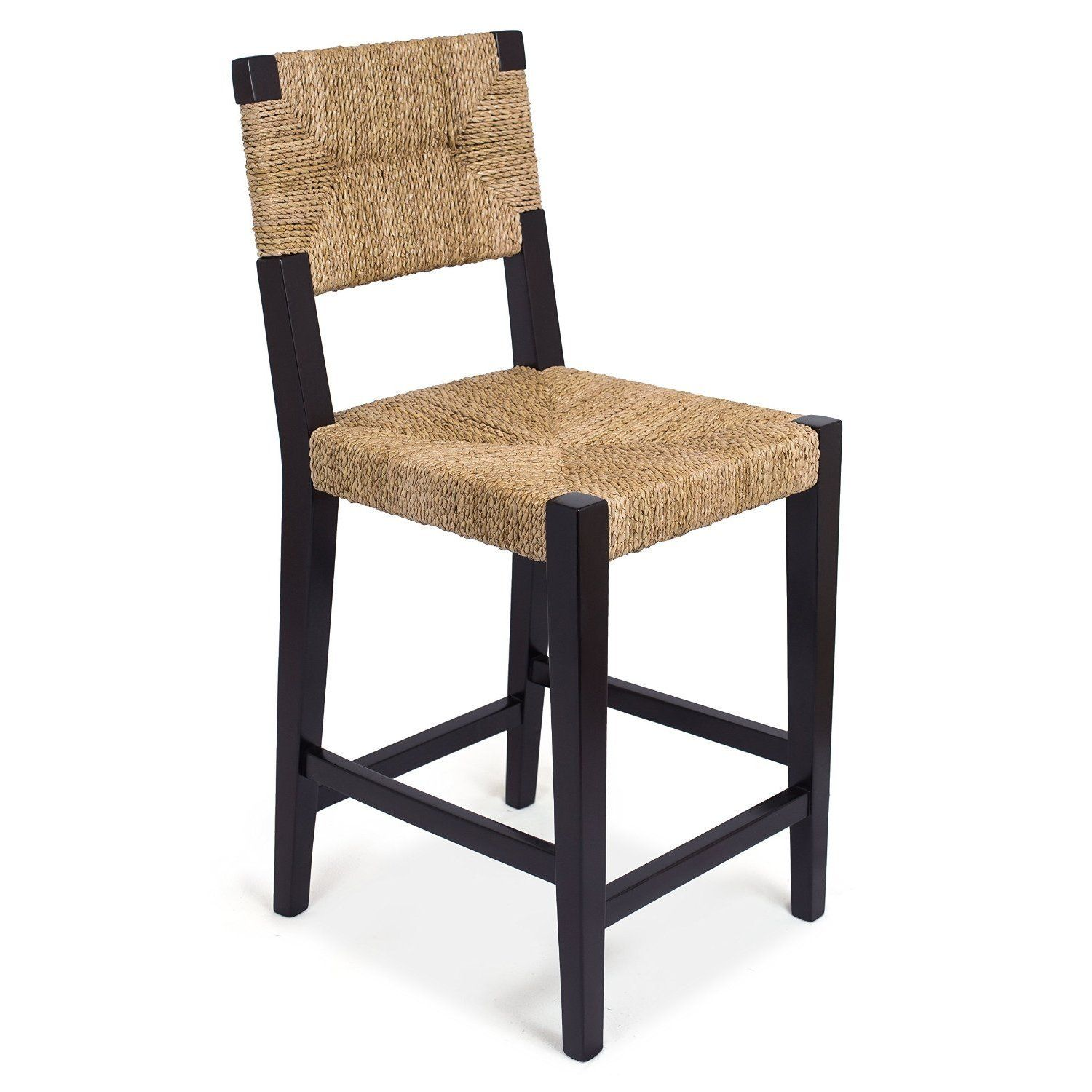 Birdrock Home Rush Weave Counter Stool With Back 24 Inch Height Woven Counterhieght