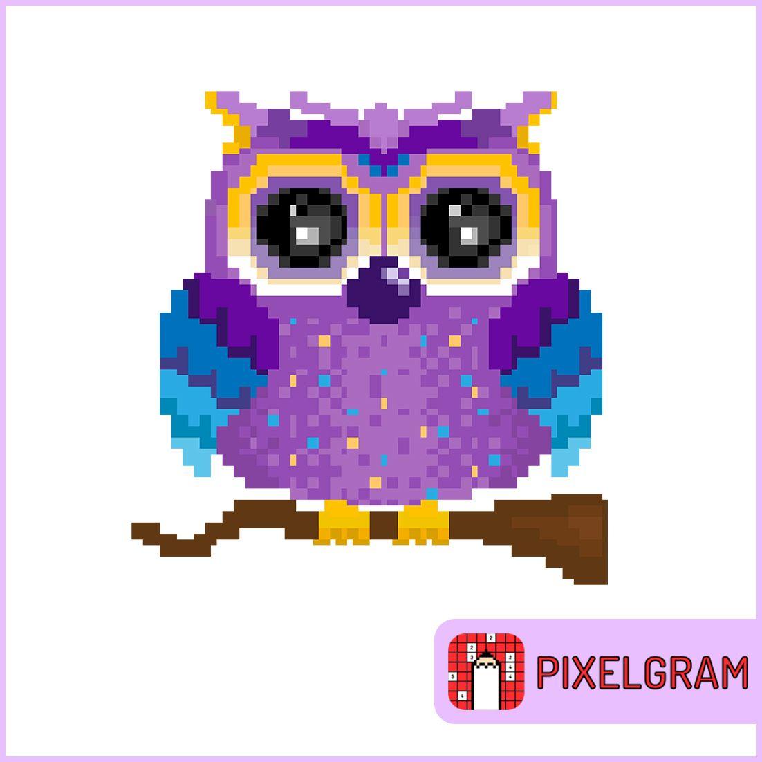 Pixel Purpule Owl Pixelgram Pixel Art Game Color By