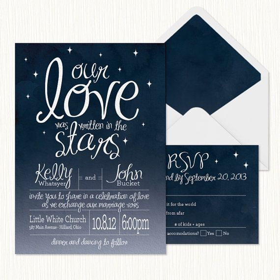 In The Stars Wedding Invitation Printable By Sparkmyminddesigns