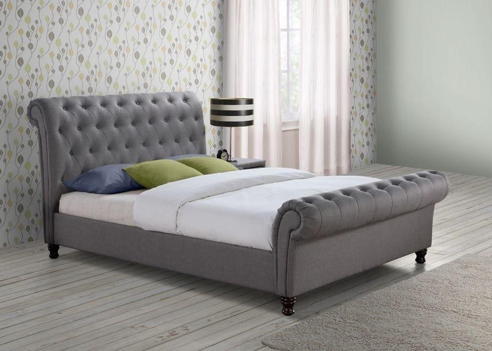 Scroll Sleigh Bed Frame Upholstered Bed Chesterfield Velvet Bed