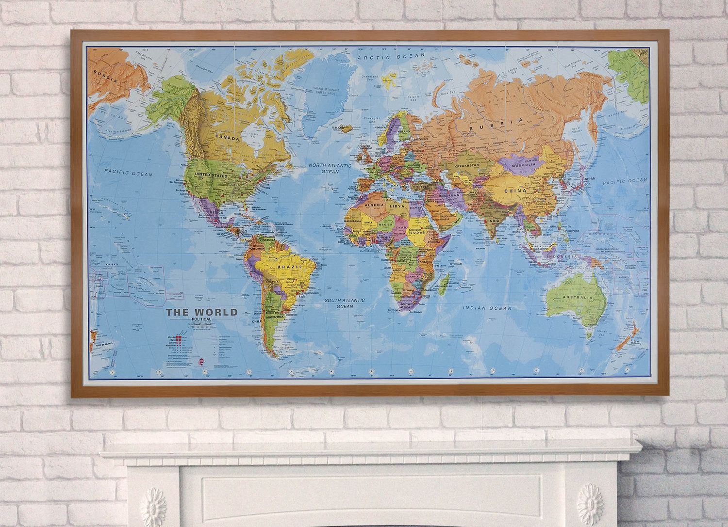 Political Map of the World Wooden